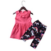Wholesale girls outfits lovely clothing online - Lovely Pan collar Girls sets cotton Tank Dress Unicorn Rainbow Pant Girls clothing Summer Outfits sets