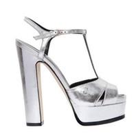 67e08272084 tacones de tacón plateado al por mayor-Zapatos de tacón alto de cuero de  espejo