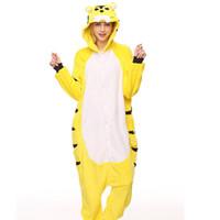 pijamas amarelas venda por atacado-Adulto de Flanela Kigurumi Amarelo Tigre Animal Pijama Unisex Onesie Traje para o Dia Das Bruxas Carnaval Festa de Ano Novo