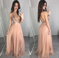 Wholesale pink carpet roses resale online - Rose Gold Sequins Evening Dresses Sexy Deep V Neck Backless Bridesmaid Dress Vestidos Cheap Prom Party Gowns