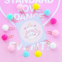 Wholesale paper binder clips metal resale online - 10pcs Candy Color Plush Ball Paper Clips Kawaii Stationery Metal Bookmark Binder Clips Memo Planner Clip Office Supplies