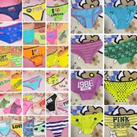 mulheres modelo modelo venda por atacado-Mais recente moda PINK estilos modelo A bandeira americana de algodão calcinha sexy das mulheres roupas íntimas PINK calcinhas meninas roupas para casa BAB68