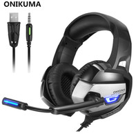ingrosso migliori bassi-ONIKUMA K5 Miglior Gaming Headset Gamer Casque Deep Bass Gaming Headphones per PC Notebook PC portatile PS4 con microfono LED