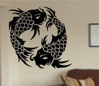 etiquetas do japão para miúdos venda por atacado-Removível japão koi peixe padrão animal bonito adesivos de parede para quartos de crianças quarto decoração de casa