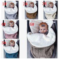 Wholesale infant envelope resale online - 6 color Baby Swaddle Wrap Knit Envelope Newborn Sleeping Bag Baby Warm Swaddling Blanket Infant Stroller Sleep Sack KKA5693