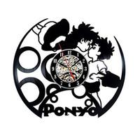 Wholesale Japanese Cartoon Art - Japanese cartoon New Year Miyazaki Pony vinyl Creative wall clock Modern home decor Room Art Clock (Size: 12 inches, Color: black)