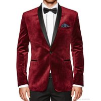 Wholesale Velvet Shawls - Burgundy Velvet Evening Party Men Suits 2018 New Coat Blazer Black Shawl Lapel Two Piece Wedding Tuxedos (Jacket + Pants)