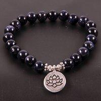 brazaletes de piedra azul al por mayor-NCRHGL Azul / Dorado Dinas Pulsera de piedra natural LOTUS / BUDDHA / OHM Brazaletes con dijes 8mm Cuentas de yoga Pulseras Joyas para mujeres Hombres