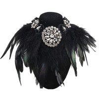 Wholesale black feather choker - whole saleLuxury Design Charm Jewelry Exaggerate Black Feather Collar Necklace Crystal Pendant Statement Fashion Chokers Necklaces