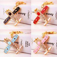 Wholesale wholesale airplane keychains - Rhinestone Airplane Key Chain Ring Holder - Rhinestone Enamel Plane Keyring Keyfob - Women's Purse Bag Pendant Charms