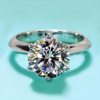 anillos de cristal de circón al por mayor-Nuevo Diseño de Joyería de Compromiso de Las Mujeres 925 Sterling Silver 7mm 5A Crystal Zircon 5A Circón piedra Anillos de Dedo de Boda Femeninos