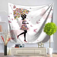 Wholesale woven bedding for sale - High Quality Flower With Girl Style Printing Tapestry Multifunction Beach Blanket Tablecloth Bed Sheet For Home Party Decoration