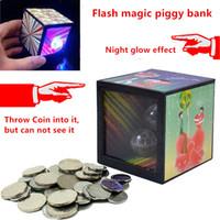 Wholesale Money Coins Games - 1Pcs Funny Gadgets Flash Light Up Magic Box Close Up Magic Trick Money Box Props Coin Disappear Game Piggy Bank