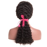 Wholesale french deep wave human hair resale online - Human Hair Lace Front Wigs Deep Curly Lace Front Wigs With Baby Hair Brazilian Virgin Hair Density Natural Hairline Lace Front Wigs