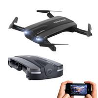 helicóptero de control remoto real al por mayor-JXD 523 Drone plegable con cámara de bolsillo Fpv Quadcopter Rc Drones Control de teléfono Wifi Mini Dron VS JJRC H37 Elfie Selfie Dron