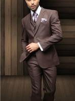 laços formais para homens venda por atacado-Nova chegada adaptados noivo smoking castanho chocolate Estilo Moda Slim Fit Tuxedo Formal Suit Men Casual (Jacket + Calças + colete + Tie)