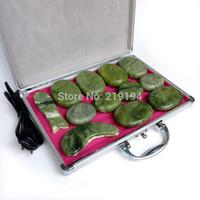masaj taşları toptan satış-Yüksek kalite 14 adet / takım yeşil yeşim vücut masajı sıcak taş yüz geri masaj plakası SPA ısıtıcı kutusu ile CE ve ROHS