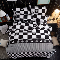 Wholesale Red Bedding Sheets - Black and white checkered 3 4pc Bedding Sets High quality luxury soft comfortab duvet cover+Flat sheet+Pillowcases Home textile-Bed Linens