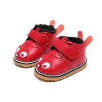 Wholesale kids cartoons snow boots for sale - Group buy newborn fashion winter kids casual buckle PU leather cute baby girl cartoon princess fur plush warm boy sewing infant snow boots