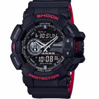 mini dijital ekran toptan satış-Moda Erkekler Spor Saatler Dijital Kuvars İzle LED Büyük Arama 50 M Su Geçirmez Çift Ekran Saatı Relogio Masculino 400