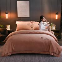 Wholesale plain pink bedding sets for sale - Group buy Solid color thick fleece winter bedding set luxury bedding set duvet cover home textile sets queen size