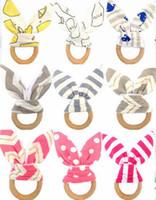 bebek tarzı oyuncak toptan satış-Bebekler ahşap teether Tavşan kulaklar diş halkası Dişlikler Bebek oyuncakları 24 renkler Çizgili Noktalar Sevimli INS tarzı 2018 Ucuz toptan