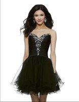 siyah süslenmiş elbiseler toptan satış-Ücretsiz kargo 2018 siyah kısa vestidos kristal boncuklu balo süslenmiş zarif noel partisi balo elbisesi kokteyl elbiseleri