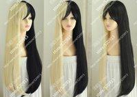 perruque harajuku noire achat en gros de-Perruque Style Harajuku Nouveau Long Platine Blonde Black Mix Cosplay Party Perruque Droite