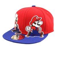 супер марио бейсболки оптовых-ALLKPOPER мода унисекс мультфильм дети Супер Марио мультфильм дети бейсболка мальчики девочки хип-хоп шляпы подходят 3-7 лет