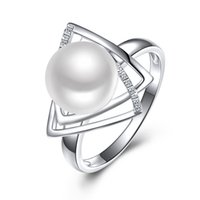anillo de perlas de agua dulce esterlina al por mayor-Sinya 925 anillo de plata esterlina con 9-10mm perla de agua dulce natural Joyería fina marca de boda Anillo de compromiso para las mujeres amante