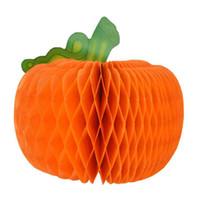 event ornament großhandel-MOQ: 10 STÜCKE Halloween Dekoration Requisiten Kürbis Laterne Falten Girlande Papier Kürbisse Partei Liefert Für Event Bar Ornament Dezember