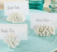 white sea coral NZ - 500pcs seven Seas White Summer Coral Resin Place Card Holder Photo Holder Beach Theme Wedding Frame Party