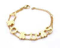 Wholesale Designer Beaded Tops - TL Top Designer Stainless Steel Bear Bracelet Gold Silver Letter Chain Link Women Bracelet&Bangel Never Fade