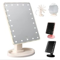 Wholesale Home Mirrors - Make Up LED Mirror 360 Degree Rotation Touch Screen Make Up Cosmetic Folding Portable Compact Pocket With 22 LED Light Makeup Mirror