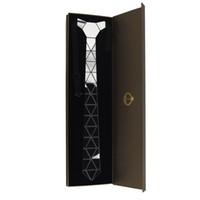 платья с бриллиантами оптовых-GEOMTIE Handmade Silver Diamond Shape Necktie с роскошной подарочной коробкой для бизнеса, официальной одеждой, свадьбой, вечеринкой