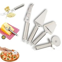 Wholesale pizza set - 4 Pcs  set Stainless Steel Pizza Wheel Cutter Cheese Tools Set Slicer Knife Kitchen Party Accessories NNA354