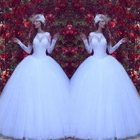 Wholesale traditional ball gowns - 2018 Traditional Pure White Wedding Dresses Sheer Crew Neck Lace Appliques Bridal Gowns with Long Sleeves Arabic Styles