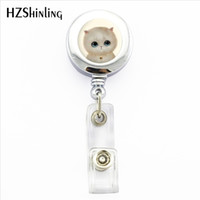 carretes blancos al por mayor-NBH-0054 New White Cat insignia Holder Lovely Cat ID Holder Doctor Bagde Reel Lovely Cat ID Holder Doctor Bagde Reel