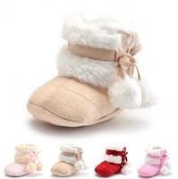 sapatos de bebê tricô crochet venda por atacado-Crianças bebê de crochê de malha botas de lã da criança meninas de lã de neve berço sapatos botas bebê engrossar primeiros caminhantes quentes qualidade superior