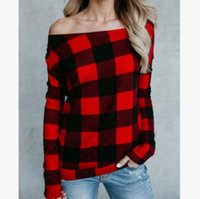 Wholesale Ladies Sexy Apparel - New women's tops Sexy plaid long-sleeved shirt Off-shoulder oblique collar T shirt ladies spring autumn coat Apparel clothing