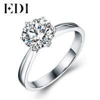 9k gold großhandel-EDI für immer Brilliant 1ct Round Cut Moissanites Diamant-Ring 9k Weißgold Solitaire Diamant-Verlobungsband für Frauen