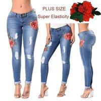 Wholesale Great Flying - Women fashion Plus Size Rose Embroidered Ripped jeans female sexy Casual skinny jeans Great Stretch jeans trousers