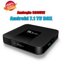 mini-set tv-box großhandel-Android 7.1 Fernsehkasten TX3 Mini Amlogic S905W 64bit Viererkabel-Kern 2G 16GB 4K H.265 1080P Video-Streaming Android TV-Boxen 17.6 Set Top Box