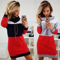 fallen kleider großhandel-Frauen Warm Stehen Stehkragen Langarm Baumwolle Hoodies Kleid Mode Hit Farbe Casual Bodenbildung Herbst Kleidung