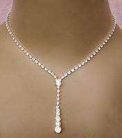 ingrosso set di gioielli da damigella d'onore-Bling Crystal Set di gioielli da sposa placcato argento collana orecchini di diamanti Set di gioielli da sposa per la sposa Damigelle donna Accessori