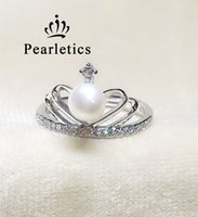 Wholesale Pearl Mounting Jewelry - cubic zircon solid sterling silver ring setting, crown ring mounting, ring blank wihtout pearl,jewelry DIY, gift DIY