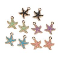 Wholesale wholesale starfish for jewelry making - 10pcs Starfish Zinc Alloy Meatl Enamel Charm Pendant For Jewelry Making Fit Handmade DIY Bracelet Necklace