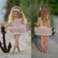 niñas vestidos bohemios al por mayor-Sweety 2018 rosa corto vestido de bola de las muchachas de las flores vestidos sin mangas desgaste formal barato vestido de encaje bohemio personalizado para niñas