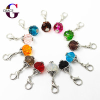Wholesale floating glass charms for sale - Group buy mix month birthstone crystal dangle charms lobster clasp charms for glass floating lockets women bracelet diy jewelry