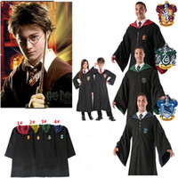 Wholesale harry potter robes online - Harry Potter Robe Cloak Cape Cosplay Costume Kids Adults Unisex Gryffindor school Uniform clothes Slytherin Hufflepuff Ravenclaw MMA721 pc